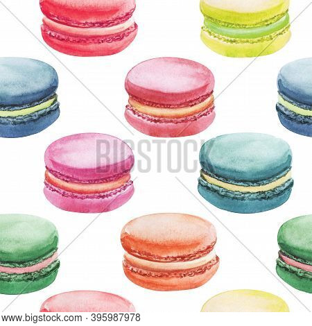 Watercolor Seamless Pattern Of Bright Colorful Macaroons On White Background. Hand Drawn Festive Bac