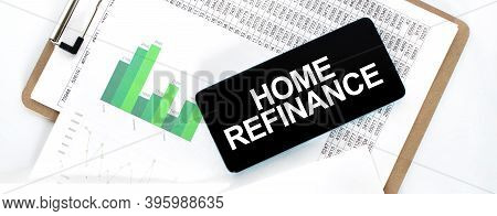 Paper Plate With Financial Amounts, Green Diagram And Phone On The White Desk. Business Concept. Hom