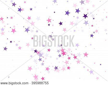 Flying Stars Confetti Holiday Vector In Pink Violet Purple On White. Surprise Party Decoration. Part