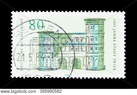 Germany - Circa 1984 : Cancelled Postage Stamp Printed By Germany, That Shows Black Gate, Trier, Cir