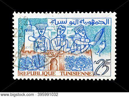 Tunisia - Circa 1959 : Cancelled Postage Stamp Printed By Tunisia, That Shows Life In Tunisia, Circa