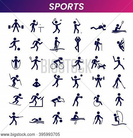 Sports Icon Collection. Athlete Silhouette Symbols. Set Of Sports Icons