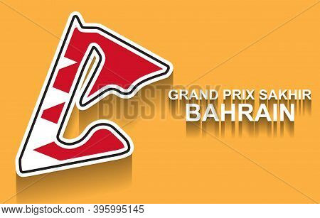 Bahrain Grand Prix Race Track For Formula 1 Or F1 With Flag. Detailed Racetrack Or National Circuit