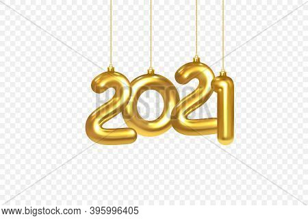 2021 New Year Card. Christmas Decorations Hanging On A Gold Chain Gold Number 2021 On Checkered Back
