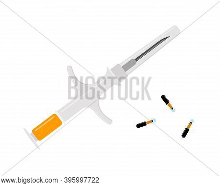 Pet Microchips With Syringe Isolated On White Background. Microchipping For Dogs, Cats And Cattle. A
