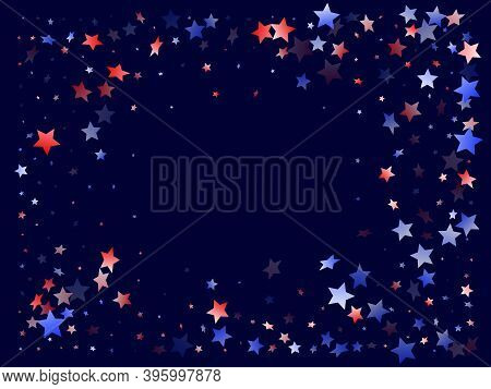 American Presidents Day Stars Background. Holiday Confetti In Usa Flag Colors For Patriot Day. Gradi