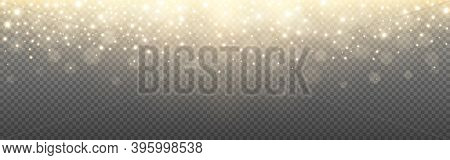 Glowing Light And Gold Glitter On Transparent Backdrop. Shining Particles With Bokeh. Greeting Card