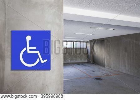 Empty Indoor Public Parking For The Disabled