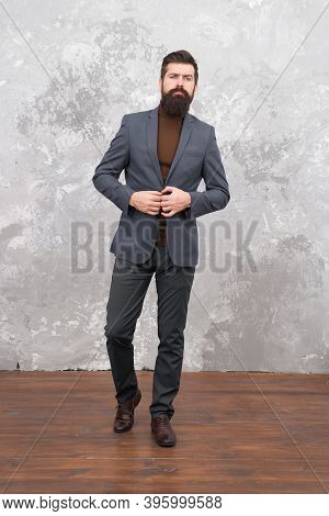 Elegant Man With Beard. Modern Life. Male Elegant Fashion Model. Mature Elegant Businessman Walking.