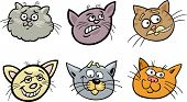 Cartoon Illustration of Different Happy Cats ot Kittens Heads Collection Set poster