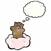cartoon bear floating on cloud poster