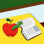 Cartoon vector illustration of a worm peeking out of an apple and reading a book in a classroom poster