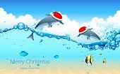 illustration of dolphin couple wearing Santa cap celebrating Christmas poster