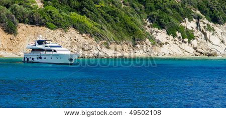 Blue Water Yacht Background