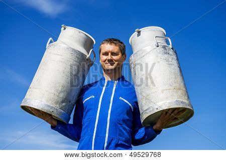 Farmer With Milk Containers