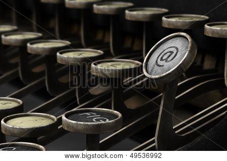 Old Typewriter With Email Symbol