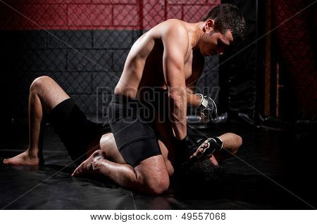 Strong mixed martial arts fighter holding his rival down and trying to punch him poster
