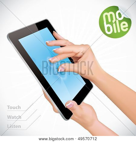 Hand Holding Black Glossy Tablet Pad