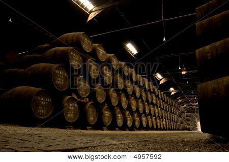 Porto wine Barrels in a warehouse. Portugal poster
