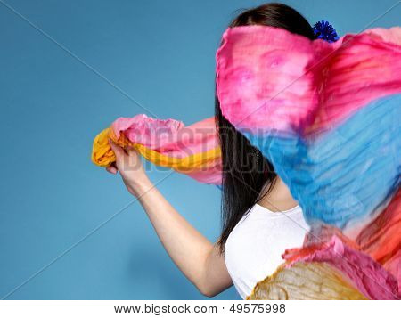 Pretty Summer Woman With Flying Shawl On Face