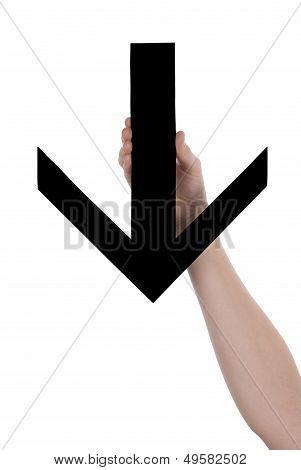 Hands Holding A Black Arrow