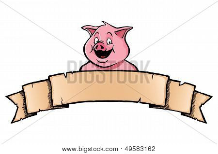 Pig with ribbon banner