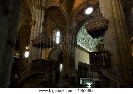 Pulpit of Se Cathedral in Viseu Portugal poster