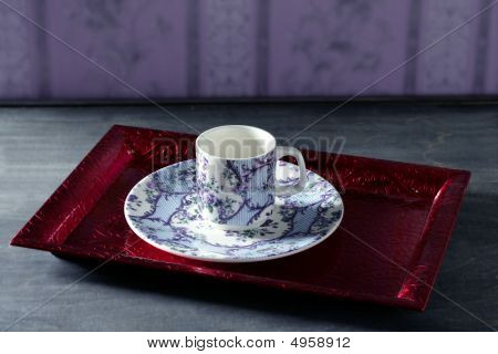 Tea Cup Victorian, Red Tray,wallpaper Background