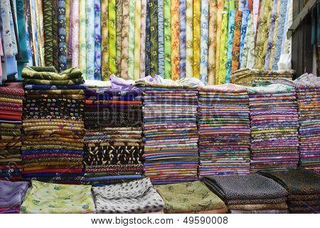 Dubai UAE Colorful fabrics are displayed for sale at the Al Naif souq in Deira.