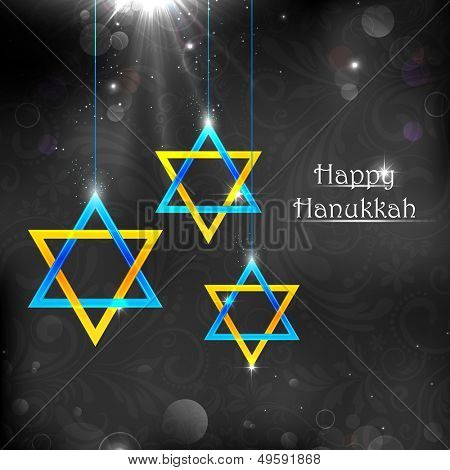 illustration of Happy Hanukkah background with hanging star of David