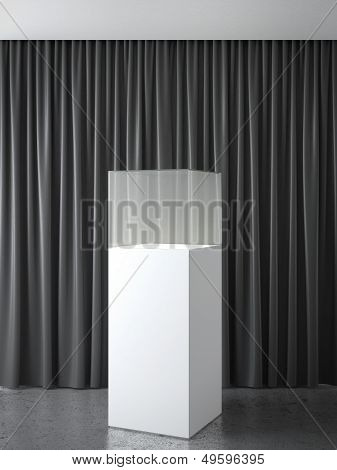 interior with black curtains and glass showcase  3d render poster