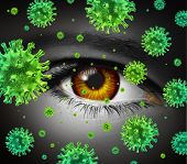 Eye infection as a contagious ocular disease transmitting a virus with human vision spreading dangerous infectious germs and bacteria during cold or flu symptoms. poster