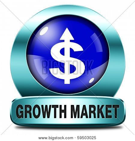 growth market economy growing emerging economies in international and global leading countries blue metal icon