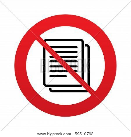 No Copy file sign icon. Duplicate document symbol.