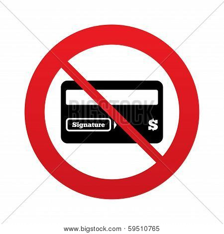 No Credit card sign icon. Debit card symbol.