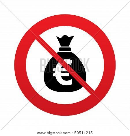 No Money bag sign icon. Euro EUR currency.