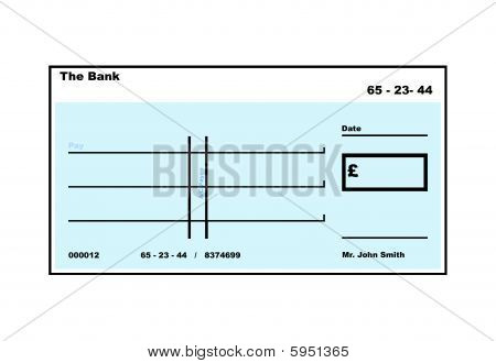 Blank English Cheque illustration with copy space isolated on white background. poster