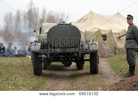 Kiev, Ukraine - November 3: German historical military transport is displayed on the Field of Battle military history festival on November 3 , 2013 in Kiev, Ukraine