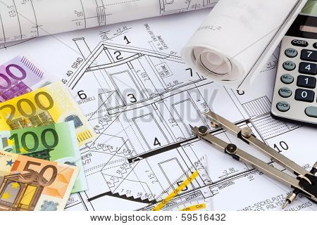 an architect's blueprint with a calculator and euro money. symbolic photo for funding and planning of a new house.