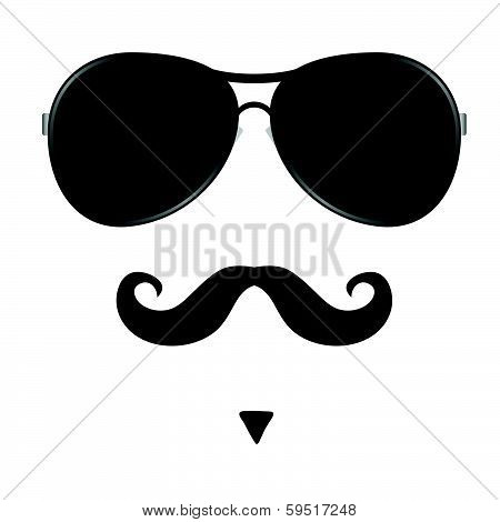 Mustache And Glasses On Face Vector