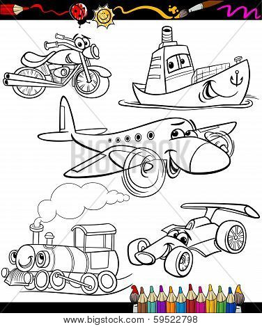 Transport Set For Coloring Book