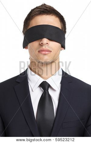 Portrait of blind-folded businessman, isolated on white. Concept of slavery and violence