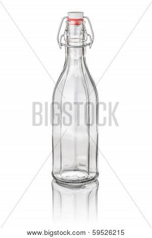 isolated decagonal bottle with swing top on a white background