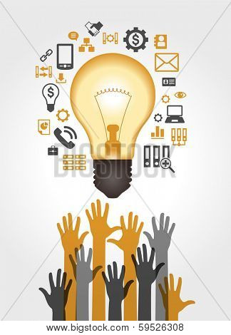 Concept of productive business ideas. Lightbulb with business icon and human hand.. Concept teamwork idea. The file is saved in the version AI10 EPS. This image contains transparency. poster
