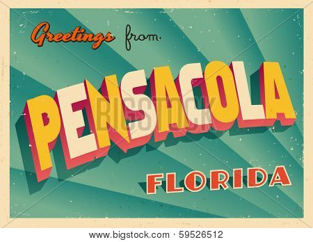 Vintage Touristic Greeting Card - Pensacola, Florida - Vector EPS10. Grunge effects can be easily removed for a brand new, clean sign.