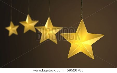 Hanging Star Shaped String Lights Over Dark Background