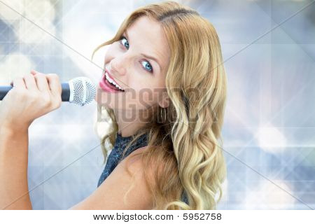 Female Pop Star with gold light background