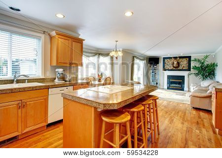 Open Design Idea For Living And Kitchen Room With Dining Area