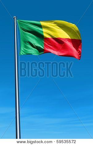 Benin flag waving on the wind