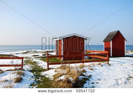 Red Cabins At Coast